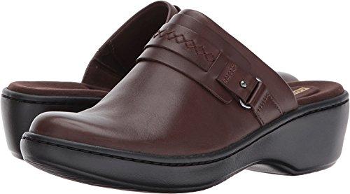 Leather Comfort Slides - Clarks Women's Delana Amber Clog, Dark Brown Leather, 12 W US
