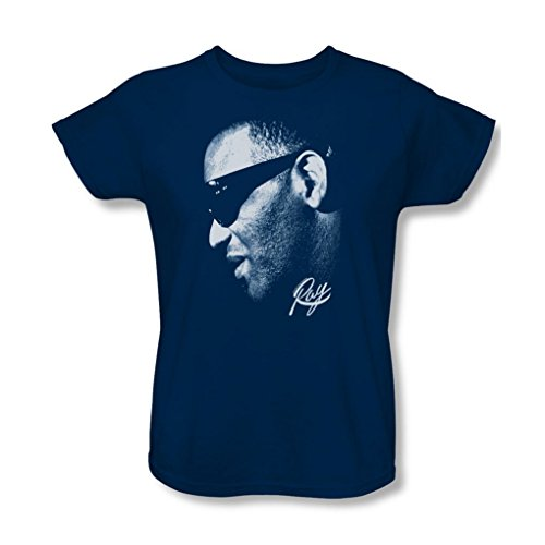 Ray Charles - Womens Blue Ray T-Shirt, X-Large, Navy