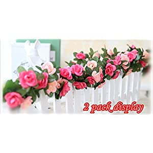 Babycola's Mum 2 Pack Fake Rose Vine Flowers Plants Artificial Flower Home Hotel Office Wedding Party Garden Craft Art Decor (Pink) 4