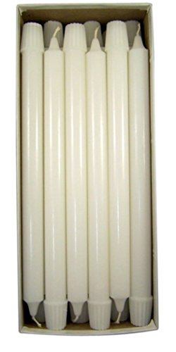 Cathedral Brand White Molded Stearine Candles Short 4's with Self-fitting Ends, 7/8 Inch x 11 3/4 Inch, Box of 24