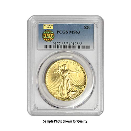 1907-1933 (Random Year) Gold Saint Gaudens Coin $20 MS63 PCGS/PQ