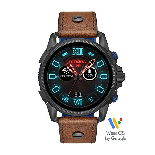 Diesel Mens Brown Leather - Diesel Men's Stainless Steel Touchscreen Watch with Leather Band Strap, Brown, 24 (Model: DZT2009)