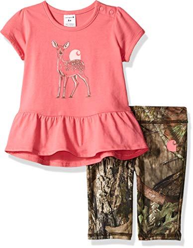 Carhartt Baby Girls Short Sleeve Top & Capri Pant Clothing Set, Mossy Oak Capri/Pink Deer Top 9M
