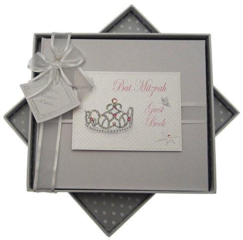 white cotton cards Bat Mitzvah Guest Book Jewish Gift (Girls)