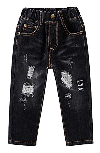 - EMAOR Little Baby Girls Boys Kids Ripped Jeans Denim Pants with Holes Black, US 24M