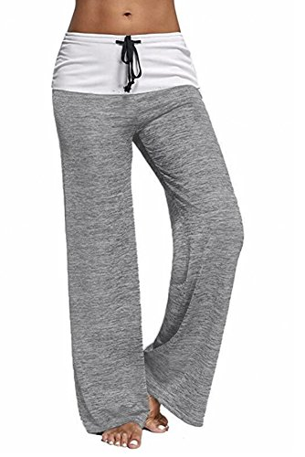 Drawstring Straight Leg Pant - Spmor Women Elastic High Waist Comfy Yoga Drawstring Pants Straight-Leg Workout Trousers Casual Loose Fit Pant Grey XX-Large