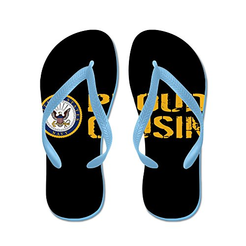 Cafepress Us Navy: Proud Cousin (black) - Slippers, Grappige Leren Sandalen, Strandsandalen