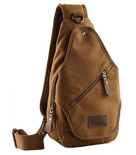 Vintage Leisure Single Shoulder Bag Mini Backpack Messenger Chest Bag for Men (Brown) - 3