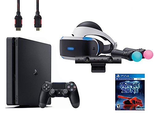 PlayStation VR Start Bundle 5 Items:VR Headset,Move Controller,PlayStation Camera Motion Sensor, Sony PS4 Slim 1TB Console – Jet Black,VR Game Disc PSVR Battlezone
