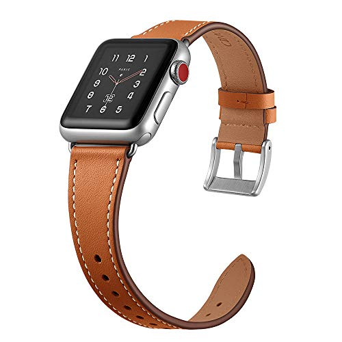- CINORS Women Leather Band Compatible with Apple iWatch 38mm 40mm Simple Stylish Brown Leather Vintage Strap for Apple Series 4 3 2 1 Sport and Edition, Brown Leather Silver Hardware
