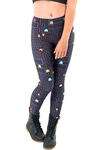 Lady Queen Women's Basic Packman Print Stretch Skinny Leggings Pants M Black ()