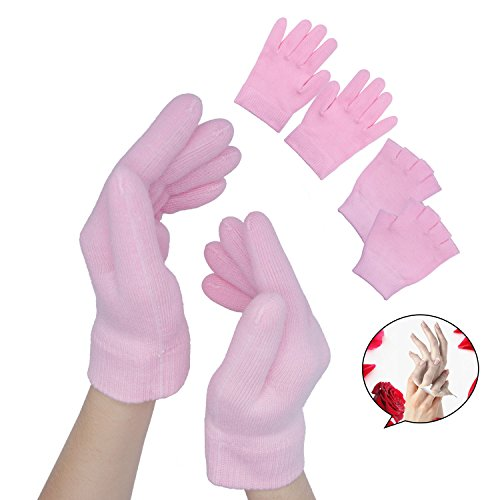 Sumifun Gel Spa Moisturizing Gloves, Fingerless Gloves for Women, Cotton Moisturizing Gloves by Sumifun