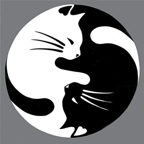 - Pandaie Round Full Drill White-Black Yin And Yang Cat Art 5D Embroidery Paintings Rhinestone Pasted DIY Diamond Painting Cross Stitch,Full Drill Painting Wall Decoration