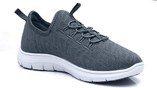 Laforst Jewel 3155 Womens Synthetic Mesh Upper Lace Up Slip Resistant Server Waitress Slip On Sneaker Pewter 11