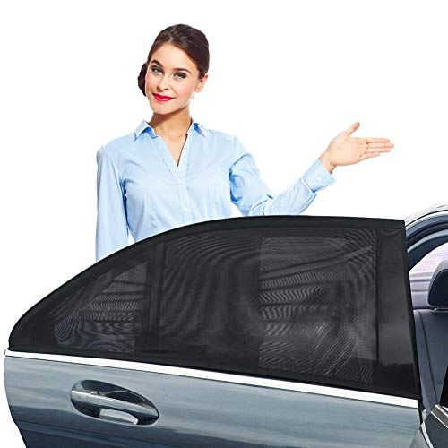 - ZOTO Car Rear Window Sun Shade, Breathable Mesh Sun Shield Protect Baby Pet from Sun's Glare & Harmful UV Rays, Universal Car Curtains Fit for Cars and SUVs (Pack of 2,Large Size)