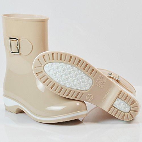 Women's Waterproof Rubber Jelly Anti-Slip Rain Boot Buckle Ankle High Rain Shoes B01J7EYBHW 6.5 B(M) US|Apricot
