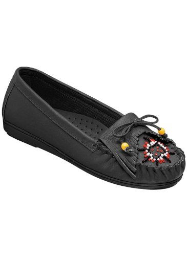 Carol Wright Gifts Leather Moccasins | Beaded Leather Moccasins for Women, Color Black, Size 10 (Wide), Black, Size 10 - Moccasins Beaded