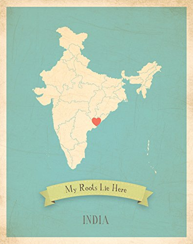Wall Map, My Roots India Personalized Wall Map 11x14, Kid's