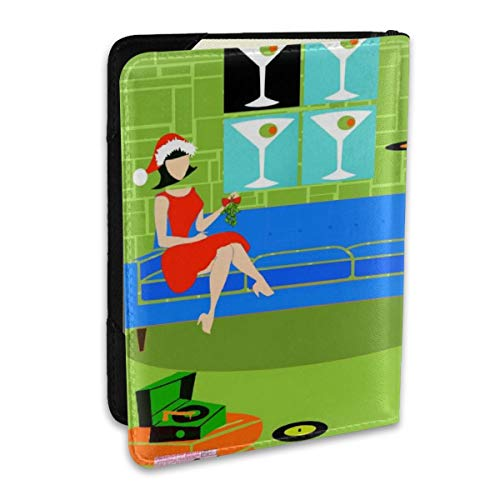 (Christmas Retro Urban Couple Cd Personalized Fashion Leather Passport Holder Covers Case Travel Wallet 6.5 In For Women Men )