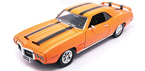 Pontiac Road Signature Die Cast Metal Collection Deluxe Edition 1:18 Scale 1969 Firebird Trans Am Blood Orange with Black Stripes Die Cast Metal