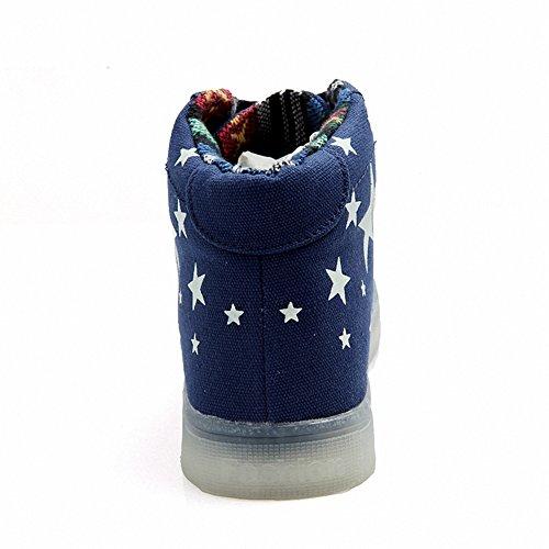 [Neues Muster] Leuchtende Nacht Segeltuchschuhe Sterne leuchten Schuhe Herrenschuhe(Blau,40EU)