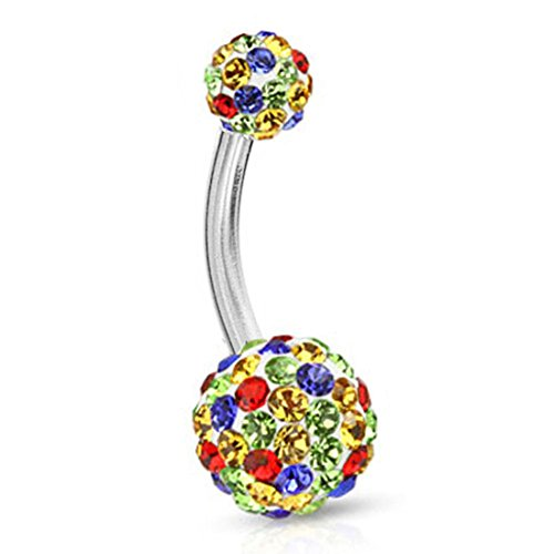 BodyJ4You Belly Button Ring White Rainbow Crystal Surgical Steel Curved Navel Barbell Body Piercing 14G