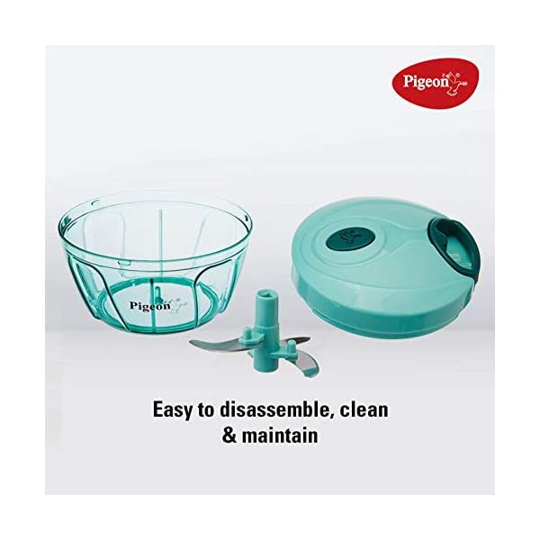4101ZHFZX0L Pigeon by Stovekraft New Handy Mini Plastic Chopper with 3 Blades, Green