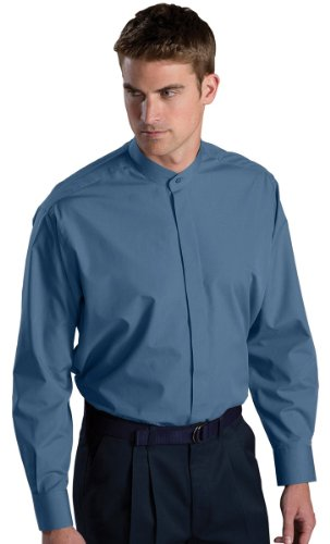 Men's Long-sleeve Banded Collar Shirt - XLT- Slate Blue