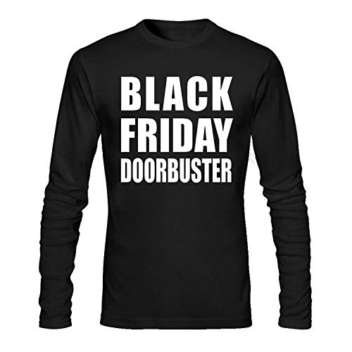 HFJFJZ Black Friday DOORBUSTER Men's Long Sleeve Cotton Crewneck T-Shirt