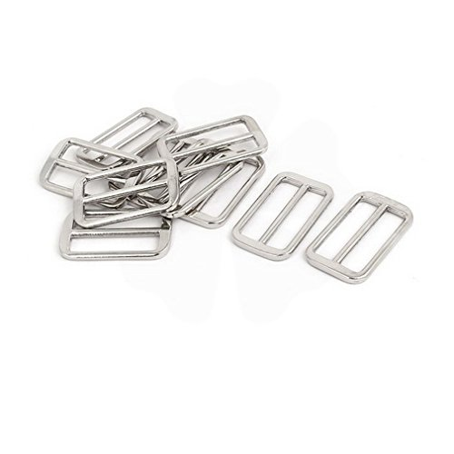 Fuxell Latches 48mmx29mmx3.5mm Adjustable Strap Slider Suitcase Bag Fitting Silver Tone 10pcs