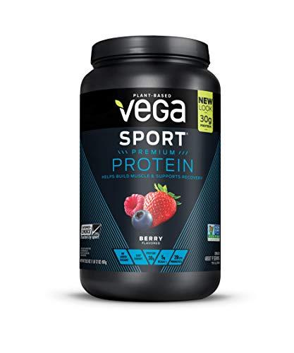 Vega Sport Premium Protein, Berry, 19 Servings, 28.3oz (1lb 12 oz, 801g), Plant-Based Vegan Protein Powder, BCAAs, Amino Acid, tart cherry, Non Whey, Gluten Free, Non GMO (Packaging May Vary)