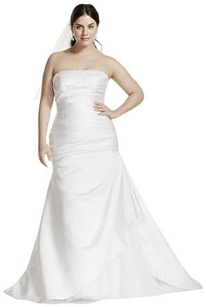 Davids Bridal Strapless Satin Trumpet Plus Size Wedding Dress Style