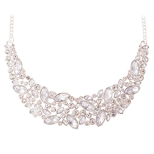 Rhinestone Chunky (JANE STONE Fashion Statement Necklace Bling Rhinestone Choker Collar Chunky Jewelry for Women(Fn1054-Silver))