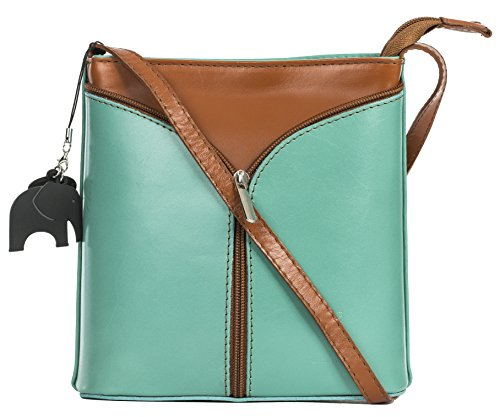 LIATALIA Mini Italian Leather Cross-Body Shoulder Bag with a Protective Storage Bag and Charm - Alice [Green [Sea] - Tan Trim] (Shoulder 250 Bag)