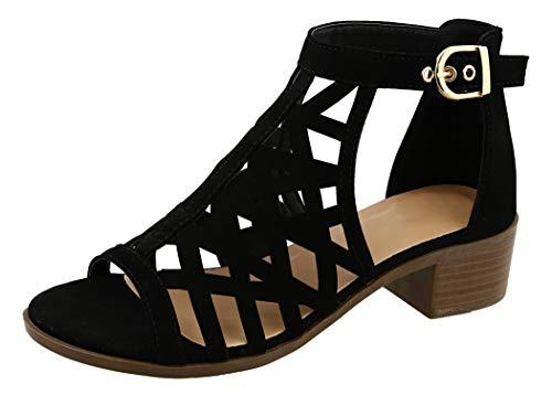 TravelNut Best Fun New Block Heel Caged Strappy Gladiator Sandal Shoe Women (Black Size 9)
