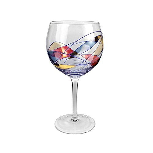 Artland Helios Balloon Goblet Glass, Multicolored, Set of 4