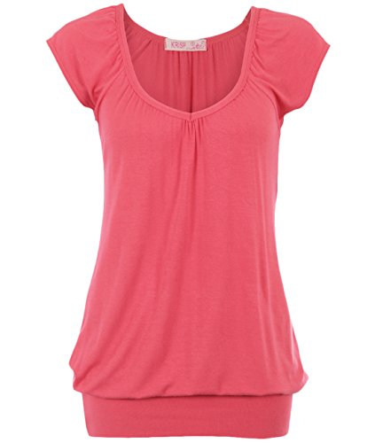 7604-COR-14 (Solid Short Sleeve Pleated Top, Coral),[US 10] (Sexy Coral)