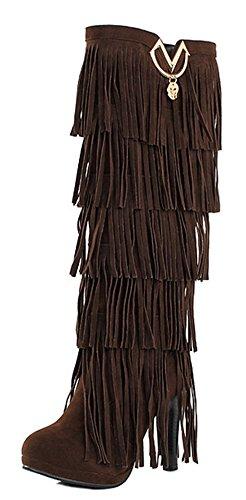Aisun Womens Unico Con Frange Di Mandorle Toe Grosso Tacco Alto Dressy Pull On Sotto Il Ginocchio Stivali Tacco Alto Con Caffè Frangia