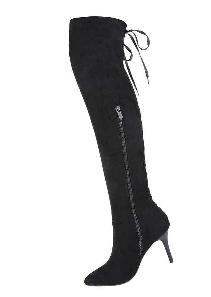 Damen Overknee Stiefel Schuhe High Heels Schwarz Schwarz Schwarz 64e007