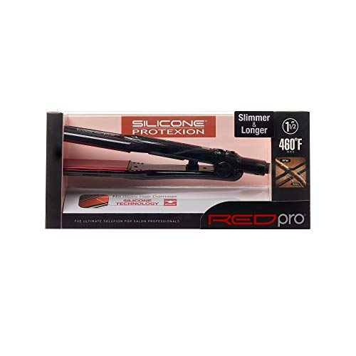 Kiss Products Red Pro Silicone Protexion Flat Iron, 1.5 Inch, 1.1 Pound