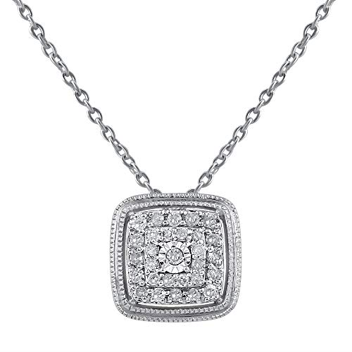 Square Shaped Diamond Pendants for Girls in 925 Sterling Silver Studded with Natural Real Diamonds Necklaces for Women (Color IJ, Clarity I2-I3) by Pipa●Bella