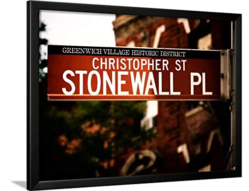 ArtEdge Urban Sign, Christopher Street and Stonewall Place, Greenwich Village District, Manhattan, New York by Philippe Hugonnard, Black Wall Art Framed Print, 24x32, Unmatted