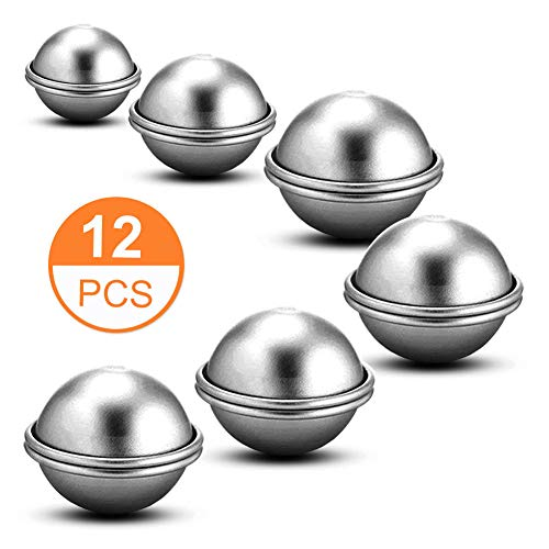 Metal Bath Bomb Ball Mold - 6 Set 3 Sizes 4cm/5cm/6cm Molds for Bath Bombs, Bryubr 12PCS Bath Bomb Molds for Crafting Your Own Fizzles