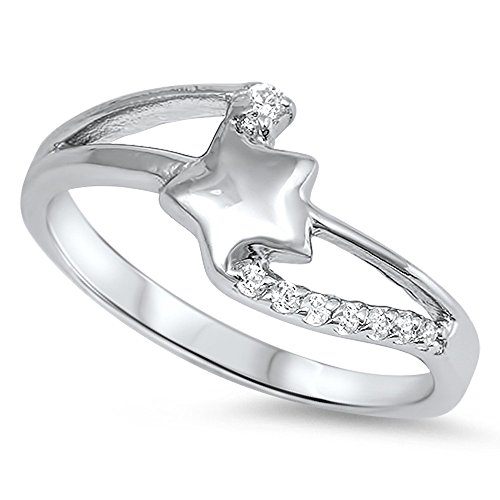 CloseoutWarehouse Clear Cubic Zirconia Shooting Star Ring Sterling Silver Size 8 by CloseoutWarehouse