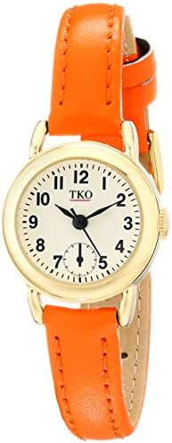 TKO Women s Small Face Orange Leather Gold Watch TK658OR