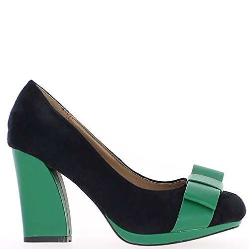 Scarpe da donna verde e Nero 9 cm tacco e piattaforma mini