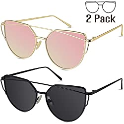 LIVHO G | Cat Eye Mirrored Flat Lenses Street Fashion Metal Frame Women Sunglasses (GOLD PINK+BLACK GRAY)