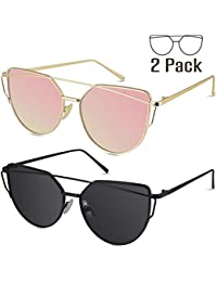 Sunglasses for Women, Cat Eye Mirrored Flat Lenses Metal Frame Sunglasses UV400