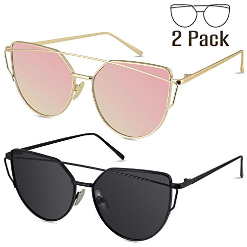 LIVHO G | Cat Eye Mirrored Flat Lenses Street Fashion Metal Frame Women Sunglasses (GOLD PINK+BLACK (Eye Frames)