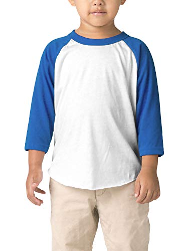 Hat and Beyond Infant Raglan 3/4 Sleeves Baseball Tee (24M, (Baby) 5bh03_White/Royal Blue)